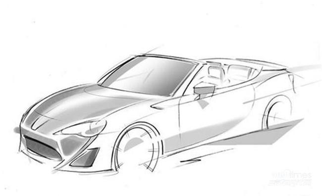 丰田86敞篷版设计草图高清图片