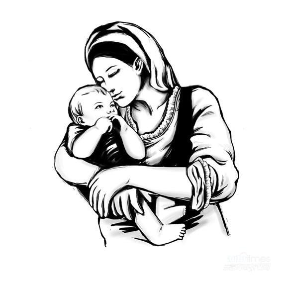 手绘老母亲图片