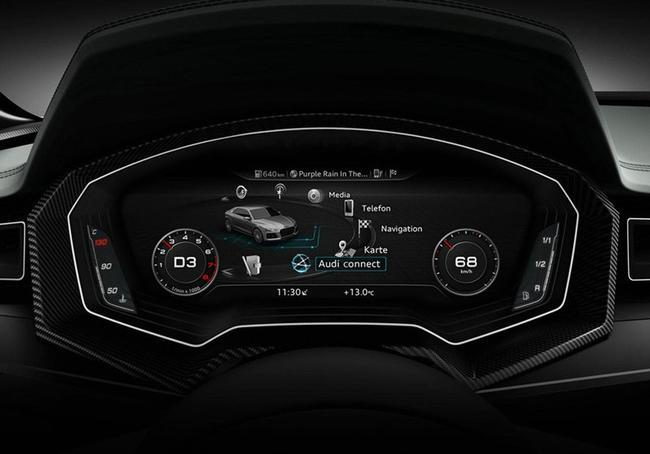 其仪表盘采用的是与奥迪全新tt相似的tft液晶屏,仪表和信息娱乐显示屏